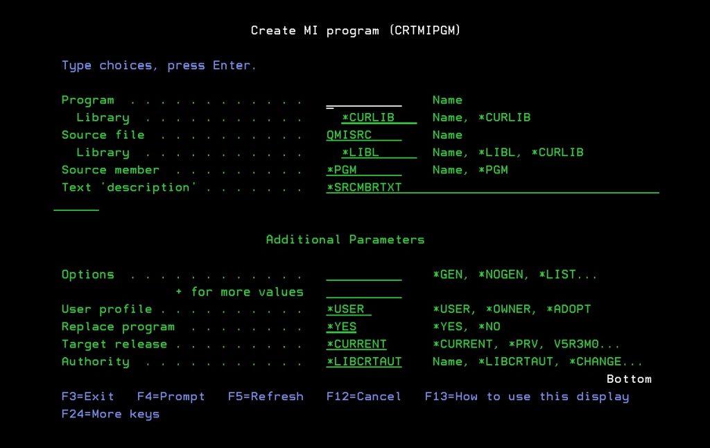 CRTMIPGM screen